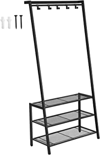 SONGMICS Coat Rack with Shoe Rack, Modern Hall Tree, Angled Coat Stand for Hallway Entryway, Standing Against The Wall, Movable Hooks and Mesh Shelves, Stable Metal Frame, Black URCR70BK