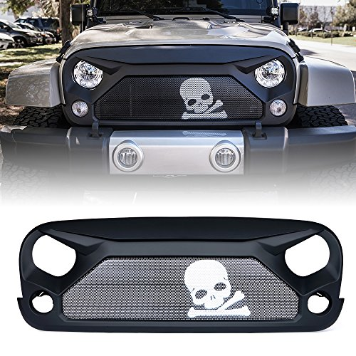 Xprite Front Grill Matte Black Grille with Skull Steel Mesh for 2007-2018 Jeep Rubicon Sahara Sport JK JKU