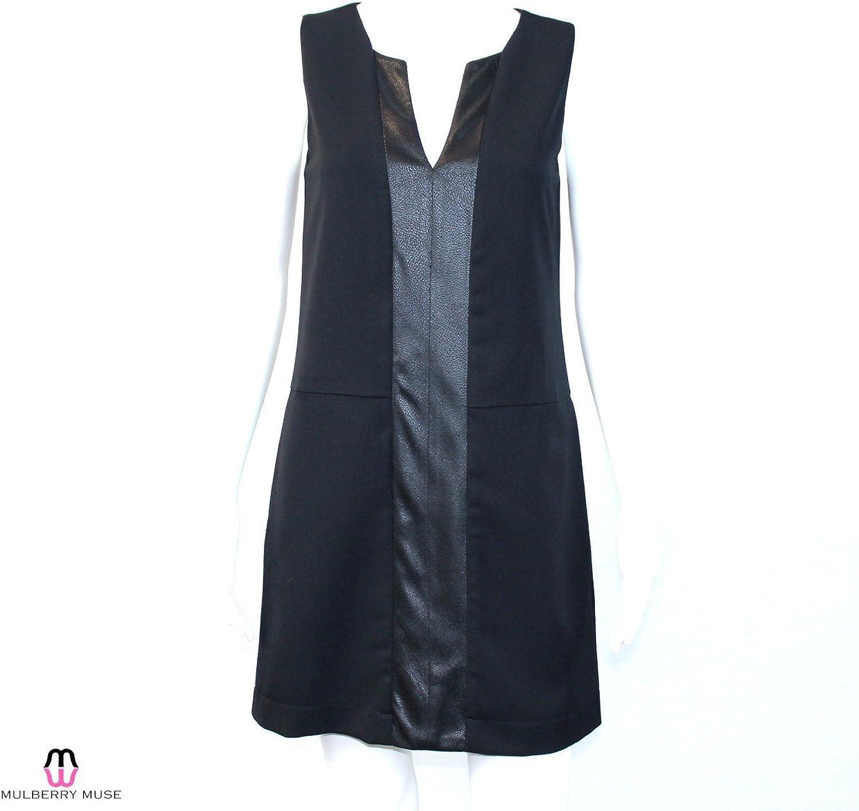 Waverly Grey Women's Leather Panel Sheath Dress (Black)