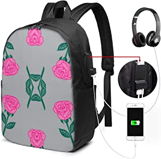 Glovesdkhh Ink Roses Fabric Pink and Grey Rose Fabric Andrea Large Backpack for Travel and Business with USB Charger Port