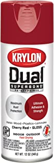 Krylon K08805007 'Dual' Superbond Paint and Primer, Gloss Cherry Red, 12 Ounce