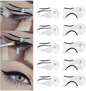 10pcs Eyeliner Stencil Cat Eye Fish Tail Double Wing Eyeliner Stencil Models Template Shaping Tools Eyebrows Template Card DIY