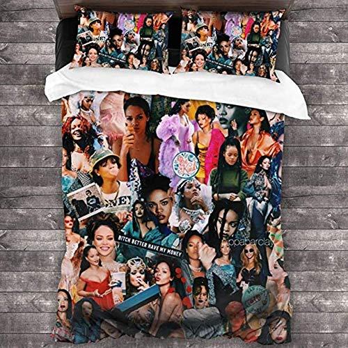 HUA JIE Rihanna Collage Juego de edredón de Ropa de Cama Juego de edredón Decorativo Juego de Cama Suave Funda de Almohada de 3 Piezas 1