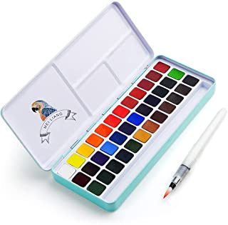 MeiLiang Watercolour Paint Set, 36 Vivid Colours in Pocket Box with Metal Ring and Bonus Watercolour Brush, Perfect for St...