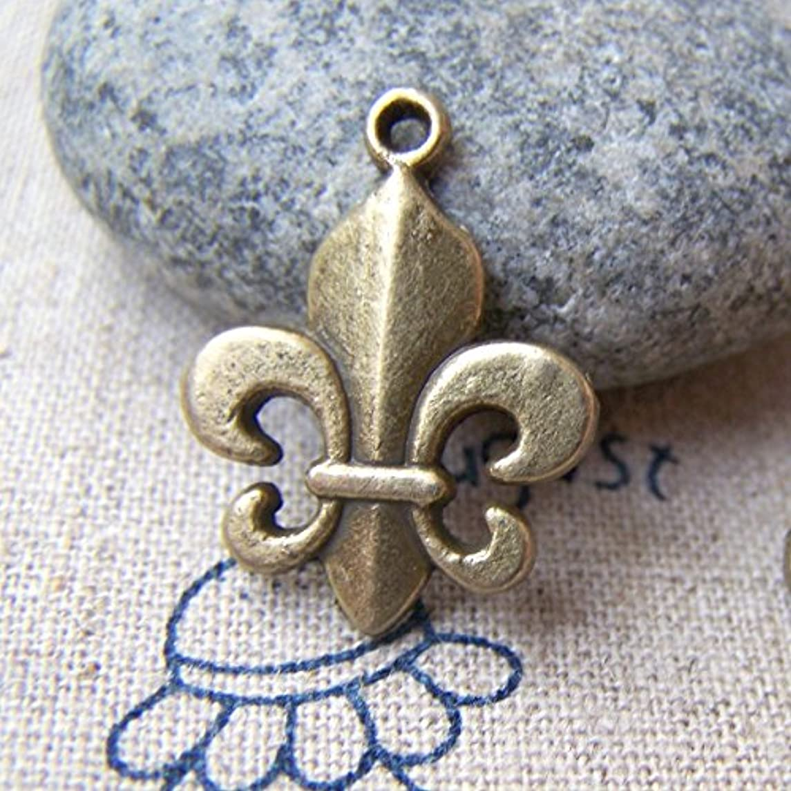 12 pcs of Antique Bronze Lovely Fleur de Lis Flower of Lily Charms 17x18mm (CB168)