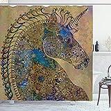 ABAKUHAUS Einhorn Duschvorhang, Mandala Pastell, mit 12 Ringe Set Wasserdicht Stielvoll Modern Farbfest & Schimmel Resistent, 175x180 cm, Mehrfarbig