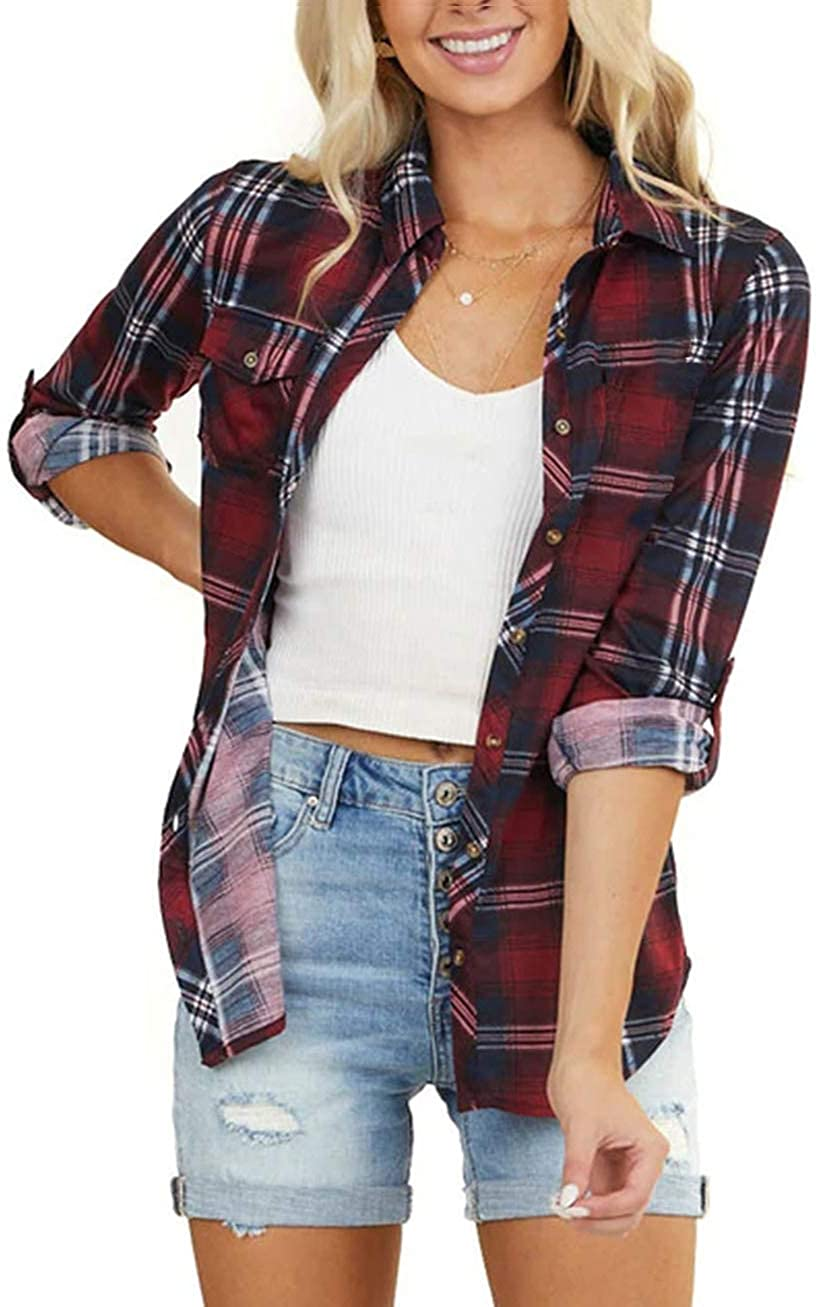 NUOREEL Women's Classic Plaid Shirt Button Down Shirts Roll Up Long Sleeve Cuffed Shirts