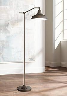 Kayne Modern Downbridge Floor Lamp Satin Bronze Metal Shade Step Switch for Living Room Reading Bedroom Office - 360 Lighting