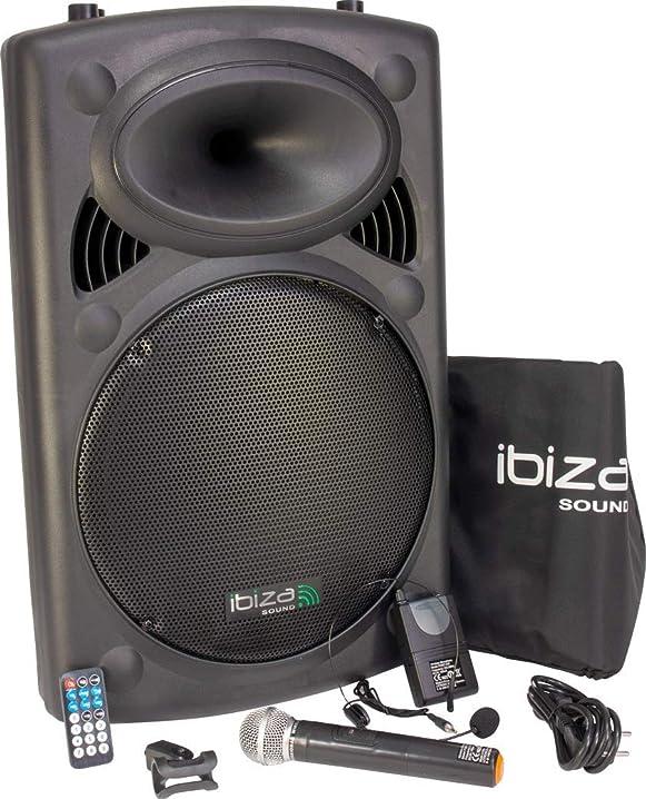 Ibiza port15vhf-bt impianto audio portatile cassa attiva, 800 watt, ingressi usb sd mp3, nero 15-6022