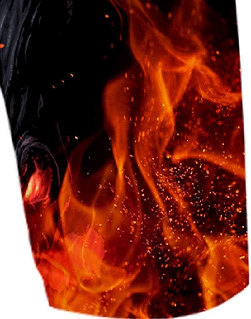 Gergeos Men Casual Shorts Fashion 3D Flame Printed Elastic Waist Summer Hawaiian Beach Shorts