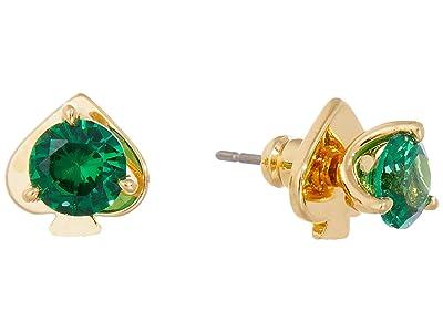 Kate Spade New York Brilliant Statements Mini Trio Prong Studs Earrings (Emerald) Earring
