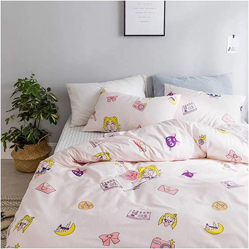 Peachy Baby Featuring Sailor Moon Bedding Sheet Set 4 Pieces Queen Size Pink Cute Cartoon Animate Girly