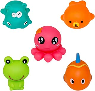 NUOLUX 5pcs Baby Bathing Toy Animal Squeeze Sound Toy Kid Game Toys Beach Toy Swimming Toy