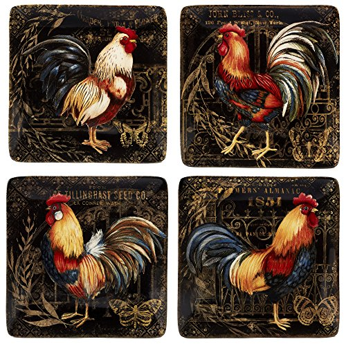 Certified International Gilded Rooster Dinnerware.Tabletop, One Size, Multicolored
