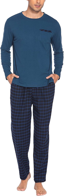 Ekouaer Mens Pajama Set with Plaid OFFicial shop Free Shipping New Sleeve Comfy Pants Sleep Long