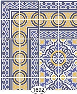 Dollhouse Wallpaper Decorative Floor Tile Blue & Yellow