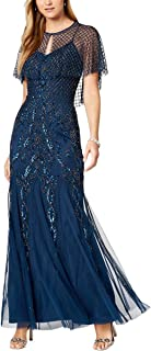 Adrianna Papell Women's Spaghetti Strap Beaded Long Dress and Caplet Set