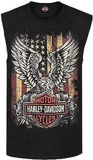 Harley-Davidson Men's Custom Freedom Sleeveless Crew Neck Muscle Shirt - Black