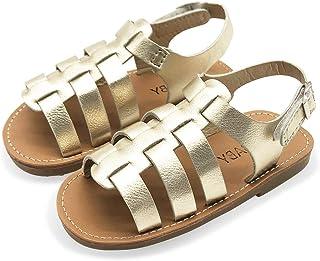 ENERCAKE Kids Girl's Flat Sandals Open Toe Ankle Strap Fashion Gladiator Sandals(Toddler/Little Kid/Big Kid)