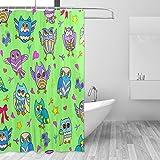 jstel Eulen Duschvorhang Schimmelresistent & Polyester-Wasserdicht-182,9x 182,9cm für Home Extra Lang Badezimmer Deko Dusche Bad Gardinen Liner mit 12Haken