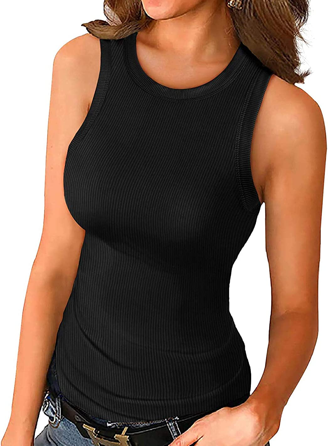 Women Tank Tops Summer Ribbed Basic Cami Top Sleeveless Shirt Slim Knit Racerback Blouses