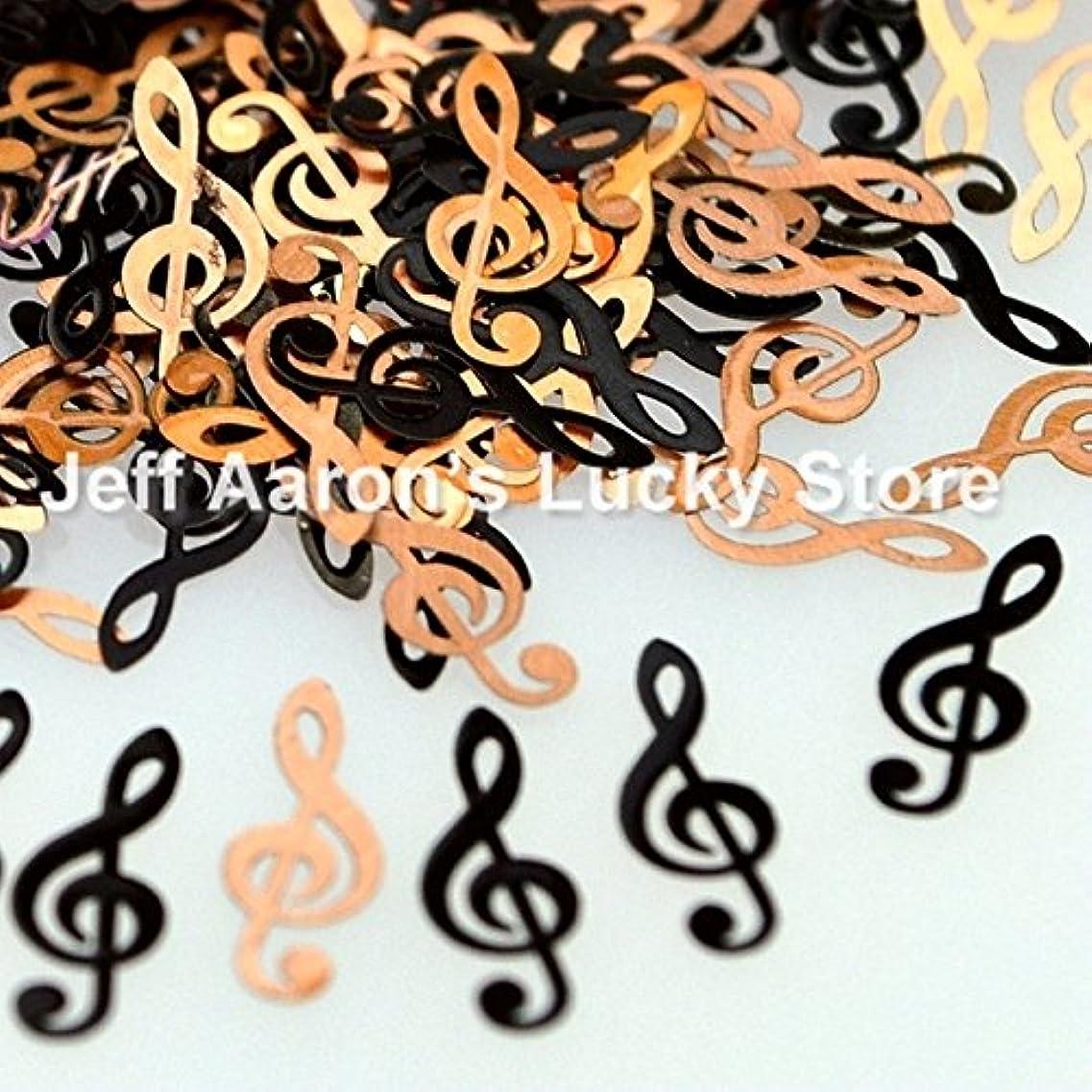 肌寒い季節チャールズキージングIthern(TM)ブラック楽譜金属ネイル箔デカールは、3Dネイルアート装飾デザインツールのためのネイルスパンコールをスライス