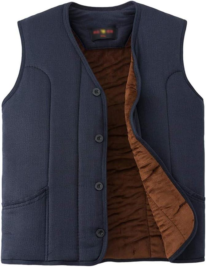 Men's Thicken Winter Vest Fleece Lined Padded Utility Vest Puffer Jacket Thicken Vest Waistcoat Gilet (Color : Blue1, Size : XXXX-Large)