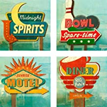 CoasterStone AS2330 Absorbent Coasters, 4-1/4-Inch,Retro Signs, Set of 4