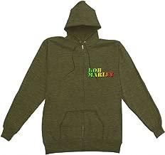 Bob Marley Men's Collage Zippered Hooded Sweatshirt Green