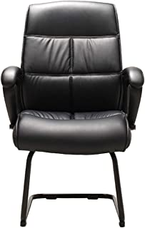 Silla de Oficina Silla de escritorio de oficina ergonómica de espalda alta, silla de invitados de oficina de oficina de cuero de PU clásico con marco de metal, silla de escritorio minimalista moderna,