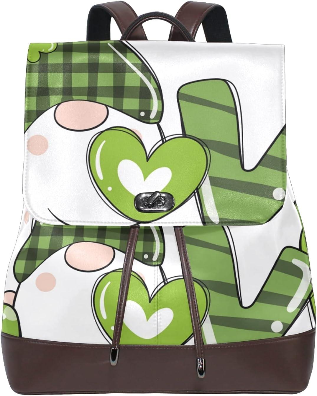 Women Leather Backpack Ladies Fashion Shoulder Bag Large Travel Bag St Patrick's Day Gnomes Clover Leaf