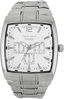 Charles Delon Mens Quartz Watch, Analog Display and Stainless Steel Strap 5150 GPWS