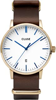 Cluse Men's Aravis 40mm Brown Leather Band Steel Case Quartz White Dial Analog Watch CW0101501007