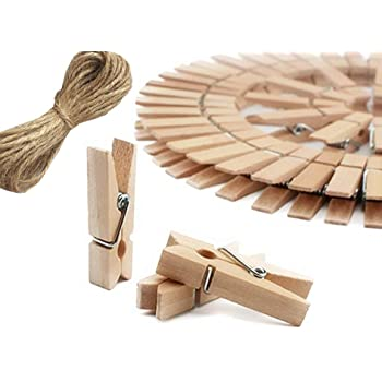 Family Wooden Photo Paper Post Card Hanging Peg Clip Clamp Hanger 50pcs