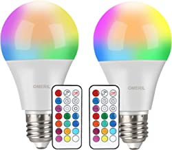 Colour Changing Bulb, OMERIL B22 10W RGBW LED Light Bulbs with Remote Control, Dual Memory Timing Function, 12 Fix Colors ...