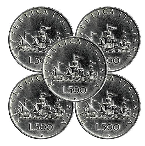 LaVecchiaScatola Repubblica 5X 500 Lire 'Caravelle' in Argento 835 (11gr)