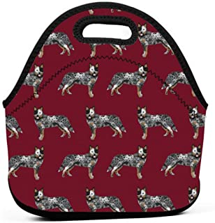 オーストラリアの牛犬シンプルルビーランチバッグ断熱サーマルランチトートアウトドア旅行ピクニックキャリーケースランチボックスハンドバッグ付きジッパー