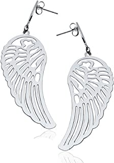 NEU Opal 925er Sterlingsilber Engel Flügel Blau Weiß Ohrhänger Damen Ohrringe