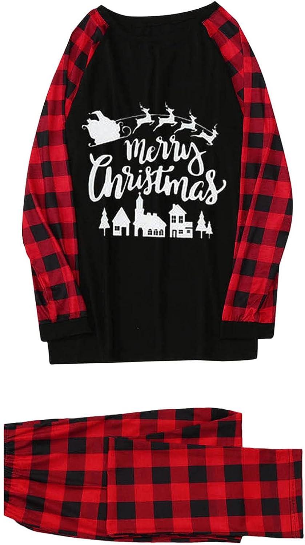 Goldweather Christmas Family Pajamas Matching Sets Letter Print Blouse Tops+Plaid Pants Loungewear Xmas Pjs Sleepwear Outfits