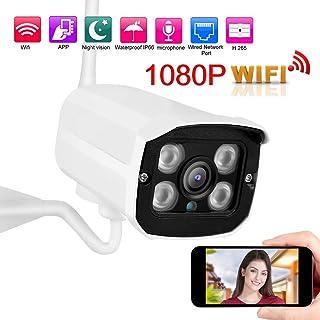 Pangding Cámara de Seguridad Q8 Exterior Impermeable 1080P WiFi IR Balas Cámara CCTV Sistema de Seguridad para el hogar Monitor Vigilancia CAM(UE)