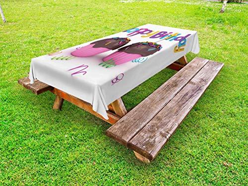 ABAKUHAUS Verjaardag Tafelkleed voor Buitengebruik, chocolade Cupcakes, Decoratief Wasbaar Tafelkleed voor Picknicktafel, 58 x 104 cm, Veelkleurig