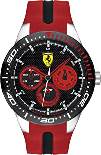Ferrari RedRev, Quartz Stainless Steel and Silicone Strap Casual Watch, Red, Men, 830586