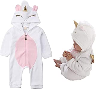 Baby Girls 3D Unicorn Angel Wings Hooded Zipper Romper Jumpsuit Outfits Clothes