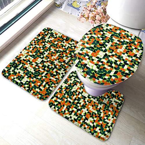 XHYYY WC-Teppich-Set Nahtloses Muster Zufällige farbige Viertelkreise rutschfeste Badezimmerteppich-Matten-Sets , WC-Pad-Abdeckung Badematte und WC-Deckelabdeckung
