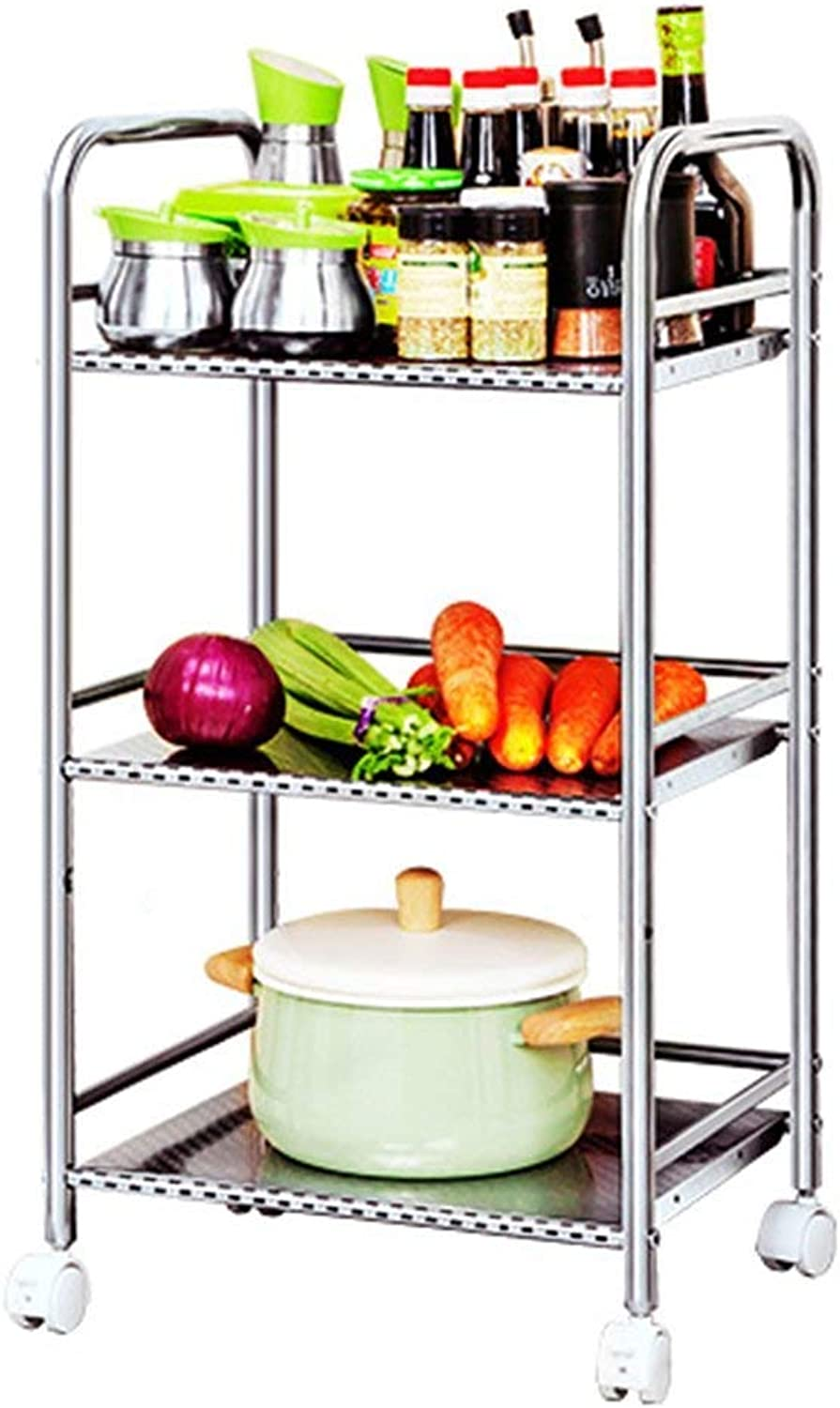 greenical Shelf 3-Story Kitchen Unit Storage Rack Stainless Steel Storage Rack Freestanding Pulley Display Stand (Size   40  32  75cm)