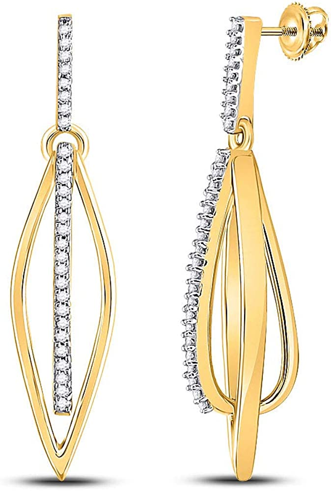 10kt Yellow Gold Round Diamond Oblong Oval Stick Dangle Earrings 1/6 Cttw