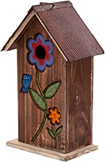 Hanging Wooden Birdhouse Carved Floral Bird House for Outdoor Yard Garden Porch Patio Country Decor, (Brown)