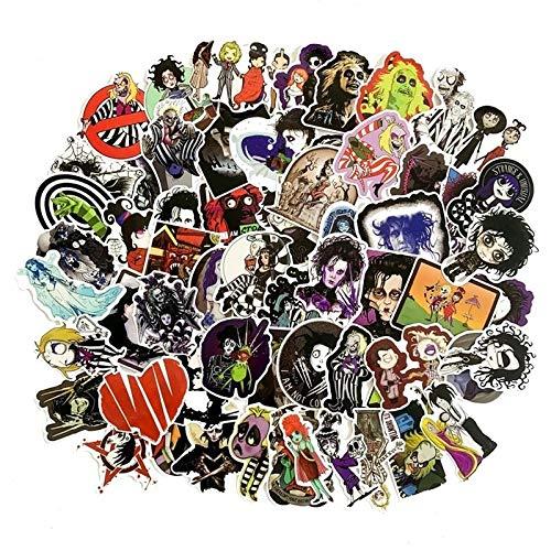 estéticas 30/10/50 PCS Nuevo Tim Burton Director Serie de película Graffiti Dibujos Animados Anime Cuaderno Coche Refrigerador Etiqueta Impermeable (Color : 30PCS)