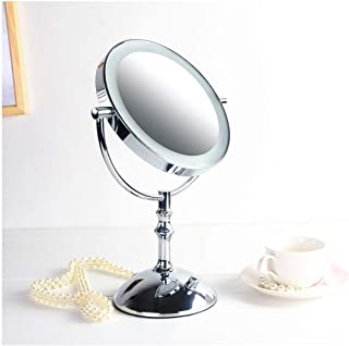 YXZQ Beauty-hot Mirror, Makeup Mirror Double Sided, Round Magnifying Hollywood-style Desktop Shaving Vanity Mirror USB And...