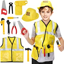 BeebeeRun Construction Worker Costume Role Play Kit Set,Halloween Activities Pretend Role Play Set with Realistic Accessories,Educational Engineering Dress Up Gift for Toddler,Kids(Engineer)